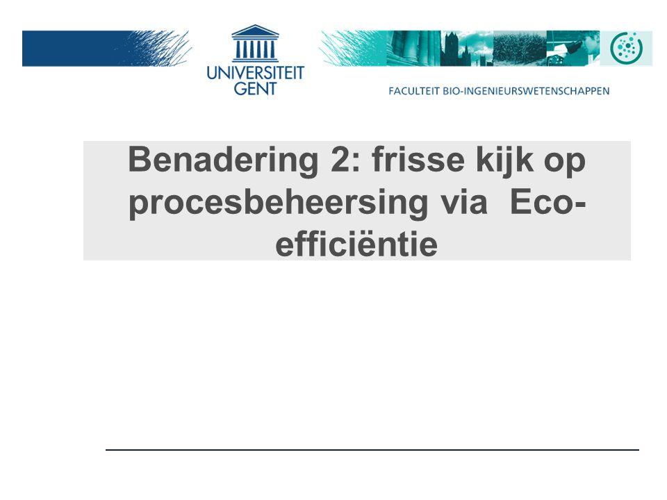 Benadering 2: frisse kijk op procesbeheersing via Eco- efficiëntie