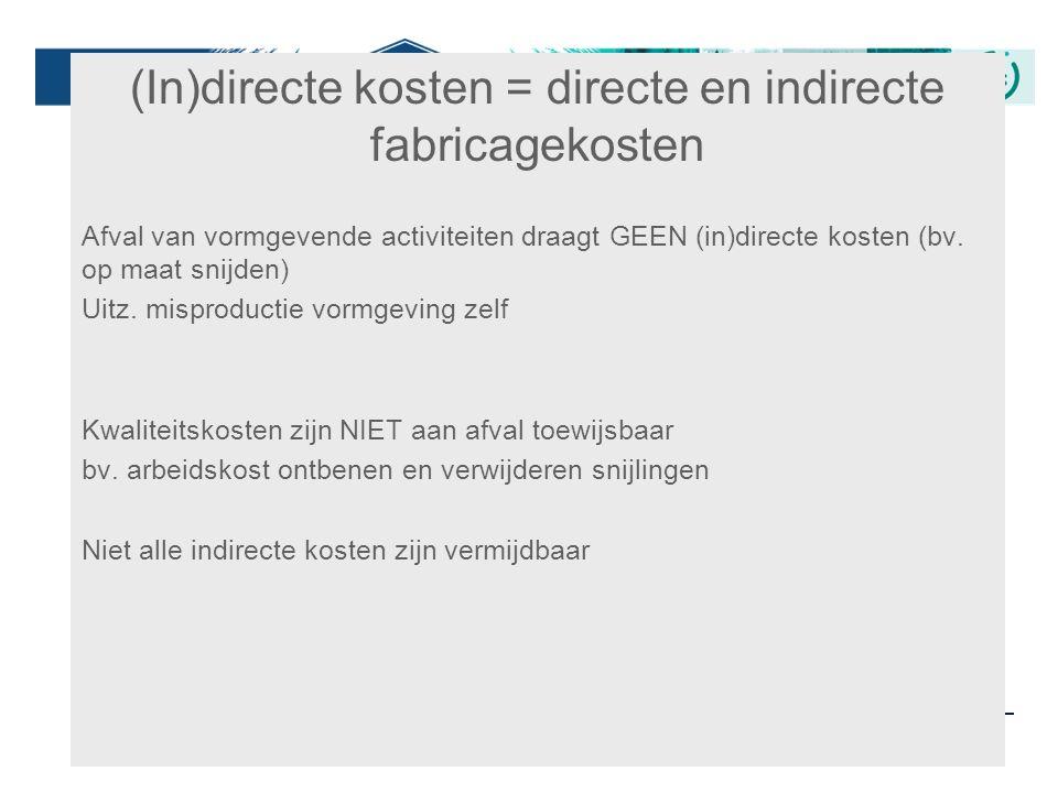 36 (In)directe kosten = directe en indirecte fabricagekosten Afval van vormgevende activiteiten draagt GEEN (in)directe kosten (bv. op maat snijden) U