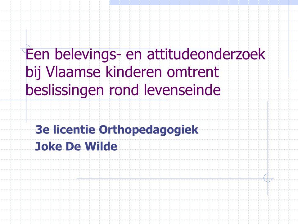 Inhoud les Video: ter illustratie van onderwerp 'De macht van de dokter' (Vara – Nederland) 16 mei 2000 Bespreking onderzoek 'Een belevings- en attitudeonderzoek bij Vlaamse kinderen omtrent beslissingen rond levenseinde' Video: Telefacts (onder voorbehoud)