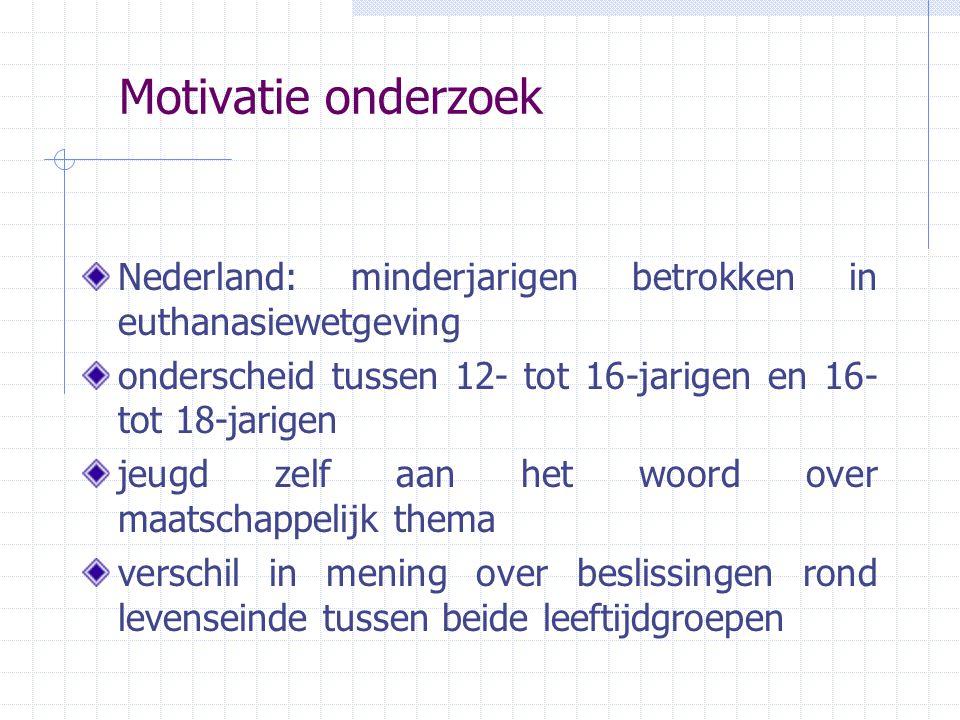 Motivatie onderzoek Nederland: minderjarigen betrokken in euthanasiewetgeving onderscheid tussen 12- tot 16-jarigen en 16- tot 18-jarigen jeugd zelf a