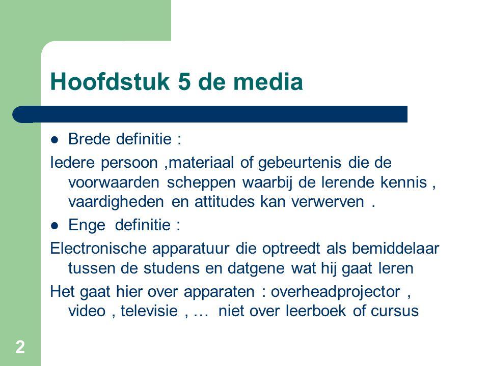 2 Hoofdstuk 5 de media Brede definitie : Iedere persoon,materiaal of gebeurtenis die de voorwaarden scheppen waarbij de lerende kennis, vaardigheden e