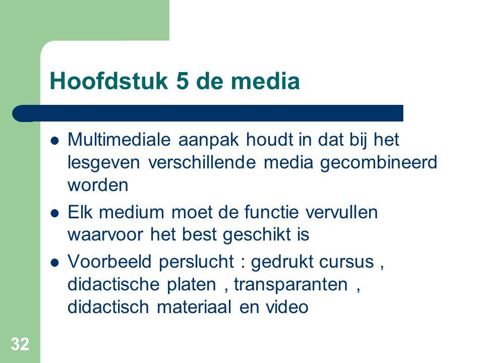 32 Hoofdstuk 5 de media Multimediale aanpak houdt in dat bij het lesgeven verschillende media gecombineerd worden Elk medium moet de functie vervullen