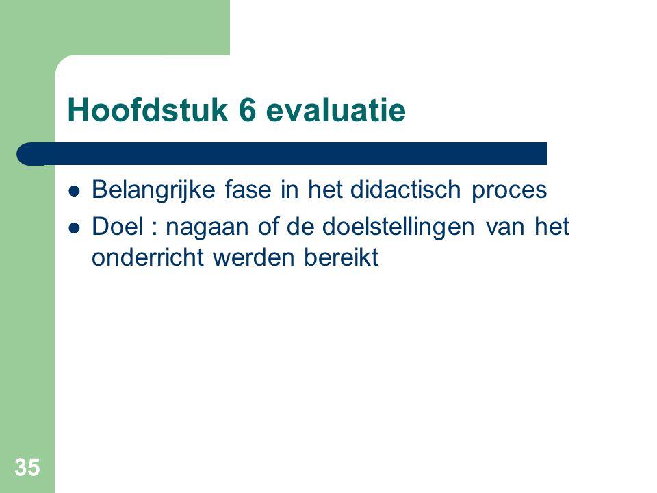 35 Hoofdstuk 6 evaluatie Belangrijke fase in het didactisch proces Doel : nagaan of de doelstellingen van het onderricht werden bereikt