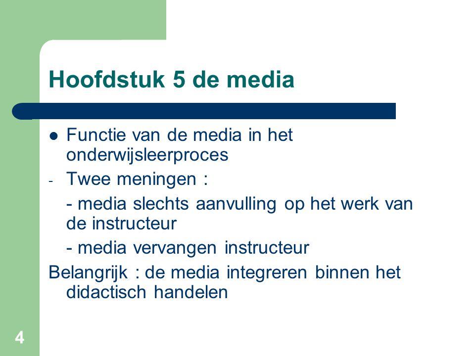 4 Hoofdstuk 5 de media Functie van de media in het onderwijsleerproces - Twee meningen : - media slechts aanvulling op het werk van de instructeur - m