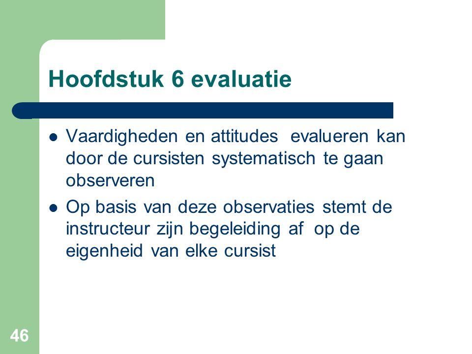 46 Hoofdstuk 6 evaluatie Vaardigheden en attitudes evalueren kan door de cursisten systematisch te gaan observeren Op basis van deze observaties stemt