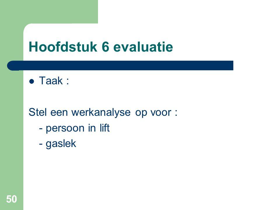 50 Hoofdstuk 6 evaluatie Taak : Stel een werkanalyse op voor : - persoon in lift - gaslek