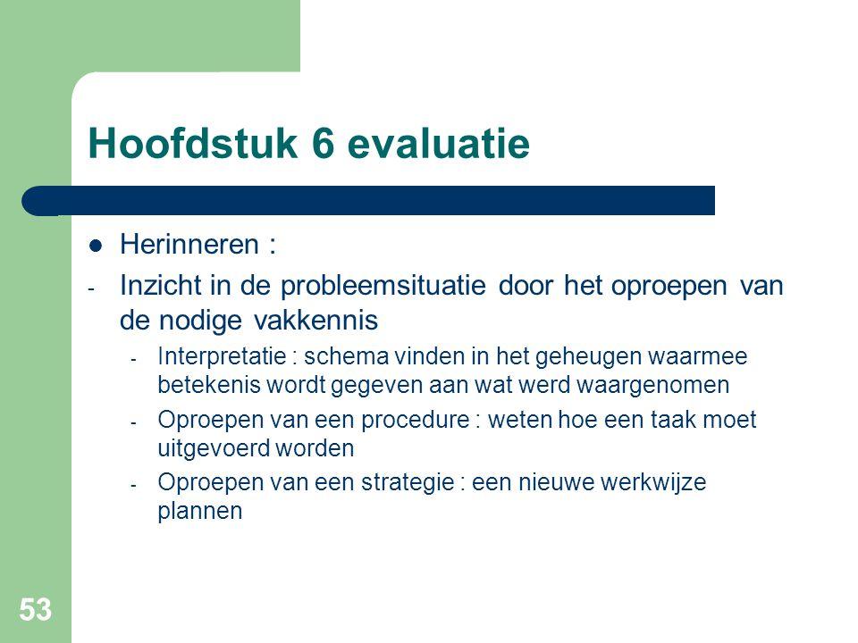 53 Hoofdstuk 6 evaluatie Herinneren : - Inzicht in de probleemsituatie door het oproepen van de nodige vakkennis - Interpretatie : schema vinden in he