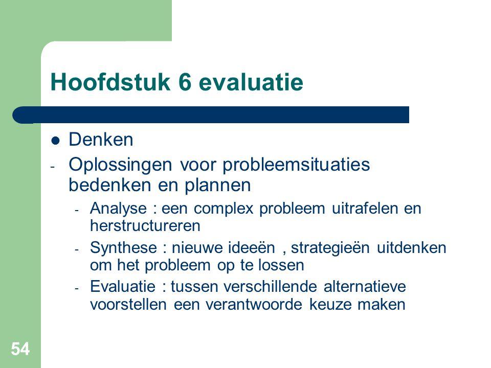 54 Hoofdstuk 6 evaluatie Denken - Oplossingen voor probleemsituaties bedenken en plannen - Analyse : een complex probleem uitrafelen en herstructurere