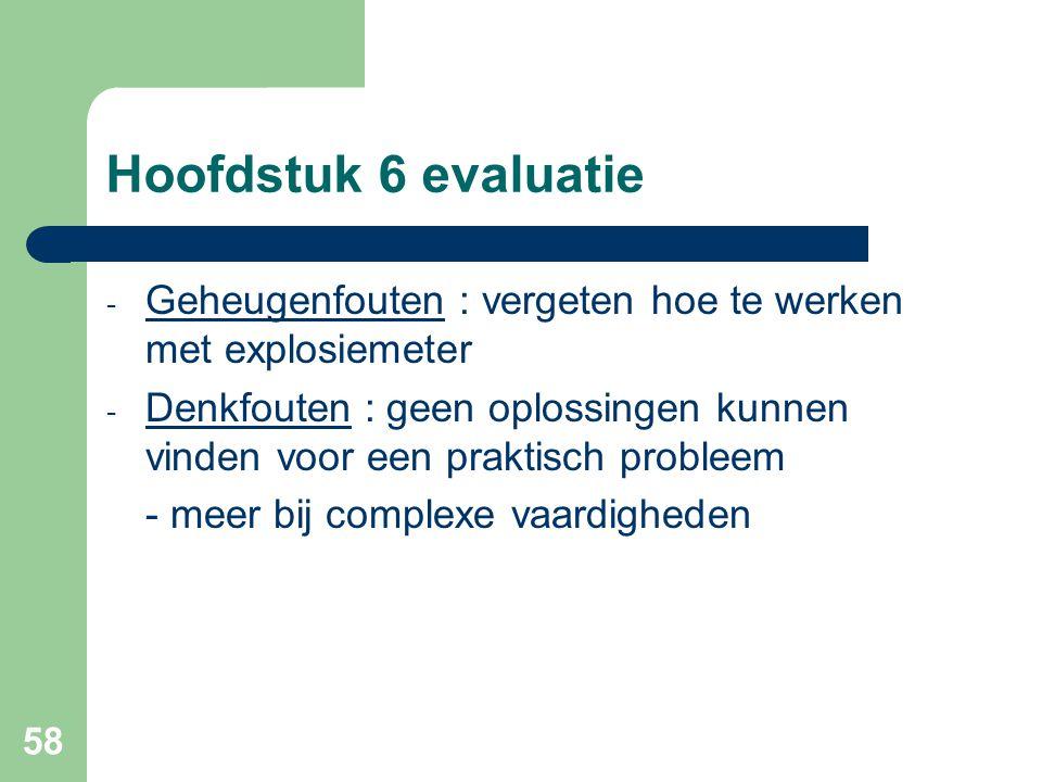 58 Hoofdstuk 6 evaluatie - Geheugenfouten : vergeten hoe te werken met explosiemeter - Denkfouten : geen oplossingen kunnen vinden voor een praktisch