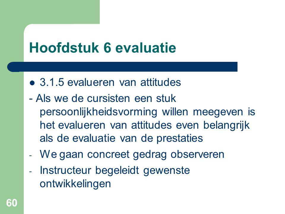 60 Hoofdstuk 6 evaluatie 3.1.5 evalueren van attitudes - Als we de cursisten een stuk persoonlijkheidsvorming willen meegeven is het evalueren van att