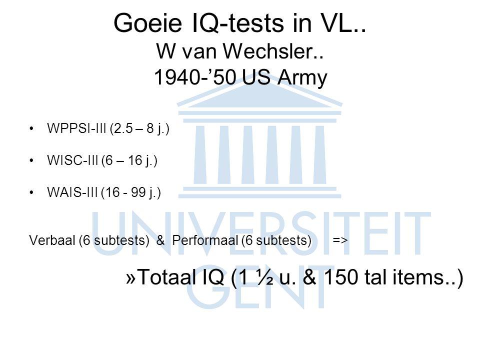 Goeie IQ-tests in VL..W van Wechsler..