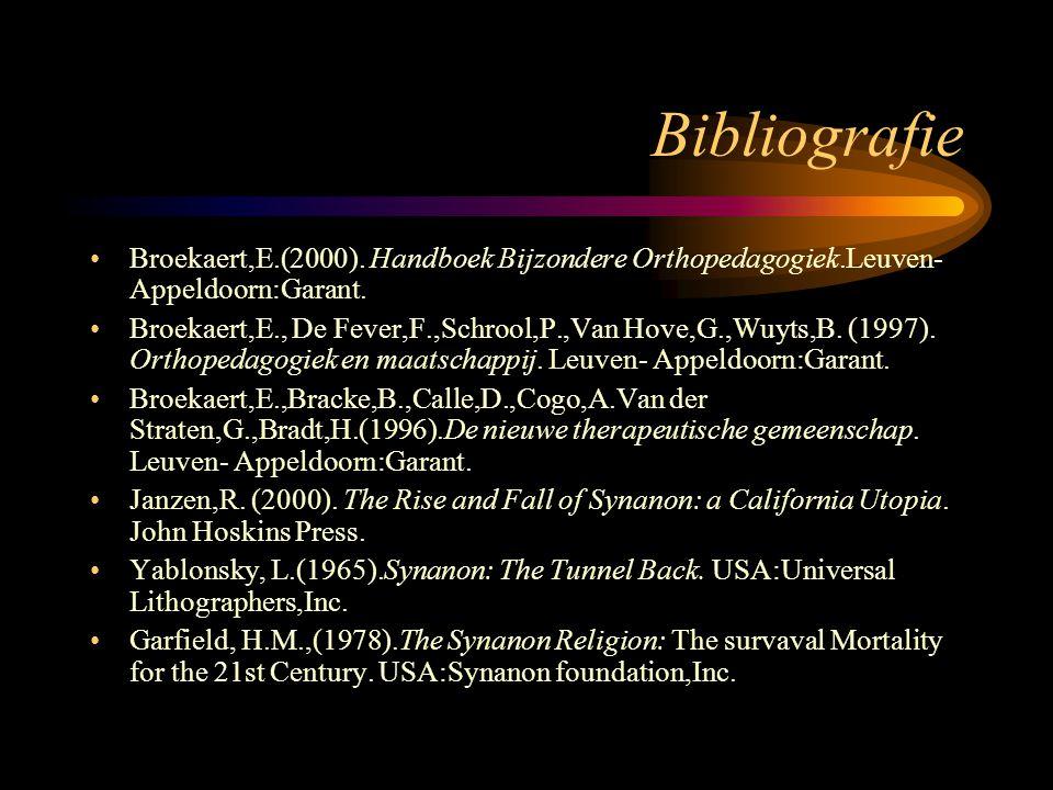 Bibliografie Broekaert,E.(2000). Handboek Bijzondere Orthopedagogiek.Leuven- Appeldoorn:Garant.