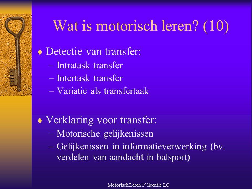Motorisch Leren 1° licentie LO Wat is motorisch leren? (10)  Detectie van transfer: –Intratask transfer –Intertask transfer –Variatie als transfertaa