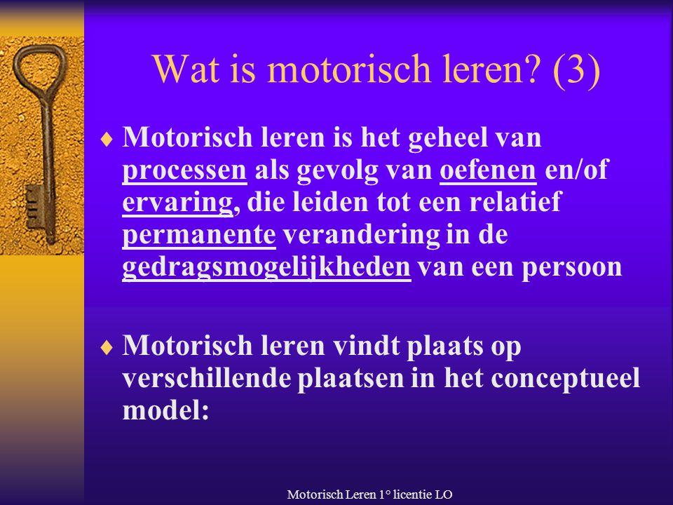 Motorisch Leren 1° licentie LO Wat is motorisch leren? (3)  Motorisch leren is het geheel van processen als gevolg van oefenen en/of ervaring, die le