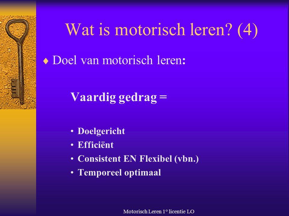 Motorisch Leren 1° licentie LO Wat is motorisch leren? (4)  Doel van motorisch leren: Vaardig gedrag = Doelgericht Efficiënt Consistent EN Flexibel (