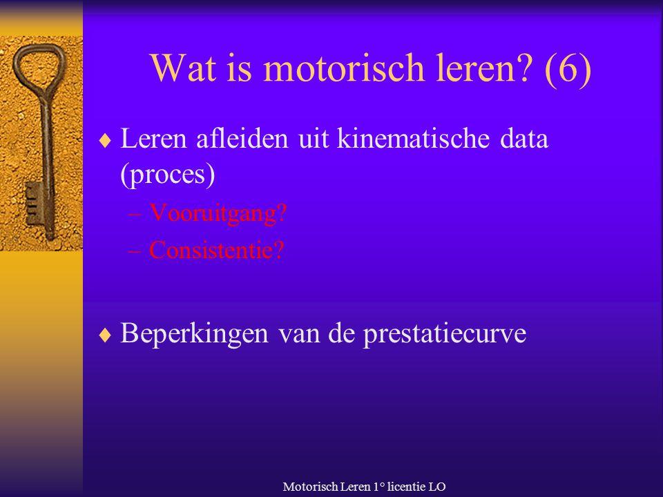 Motorisch Leren 1° licentie LO Wat is motorisch leren? (6)  Leren afleiden uit kinematische data (proces) –Vooruitgang? –Consistentie?  Beperkingen