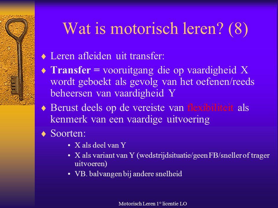 Motorisch Leren 1° licentie LO Wat is motorisch leren? (8)  Leren afleiden uit transfer:  Transfer = vooruitgang die op vaardigheid X wordt geboekt