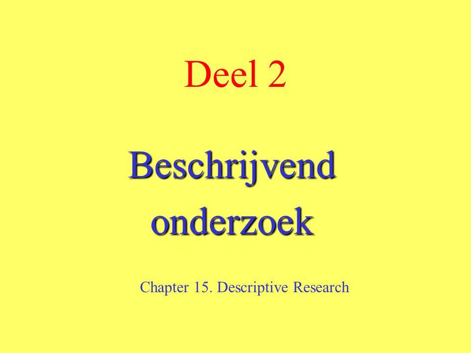 Deel 2 Beschrijvendonderzoek Chapter 15. Descriptive Research