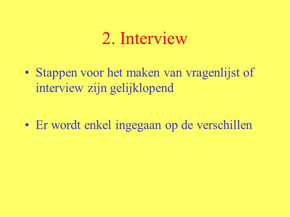 2. Interview Stappen voor het maken van vragenlijst of interview zijn gelijklopend Er wordt enkel ingegaan op de verschillen