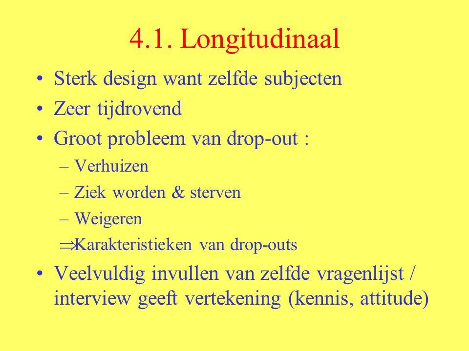 4.1. Longitudinaal Sterk design want zelfde subjecten Zeer tijdrovend Groot probleem van drop-out : –Verhuizen –Ziek worden & sterven –Weigeren  Kara