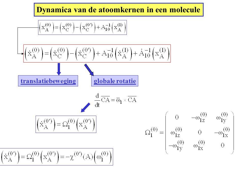 Dynamica van de atoomkernen in een molecule translatiebewegingglobale rotatie