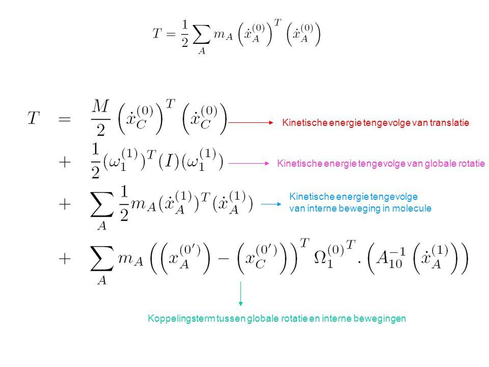 Kinetische energie tengevolge van translatie Kinetische energie tengevolge van globale rotatie Kinetische energie tengevolge van interne beweging in molecule Koppelingsterm tussen globale rotatie en interne bewegingen