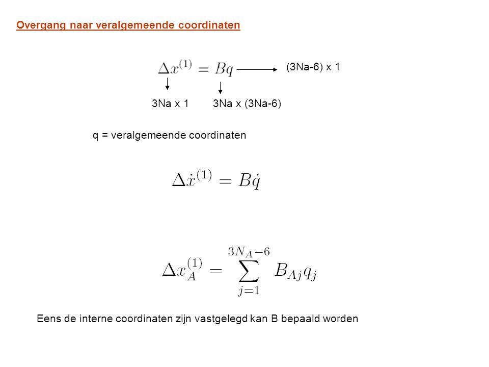 Overgang naar veralgemeende coordinaten 3Na x 13Na x (3Na-6) (3Na-6) x 1 q = veralgemeende coordinaten Eens de interne coordinaten zijn vastgelegd kan B bepaald worden