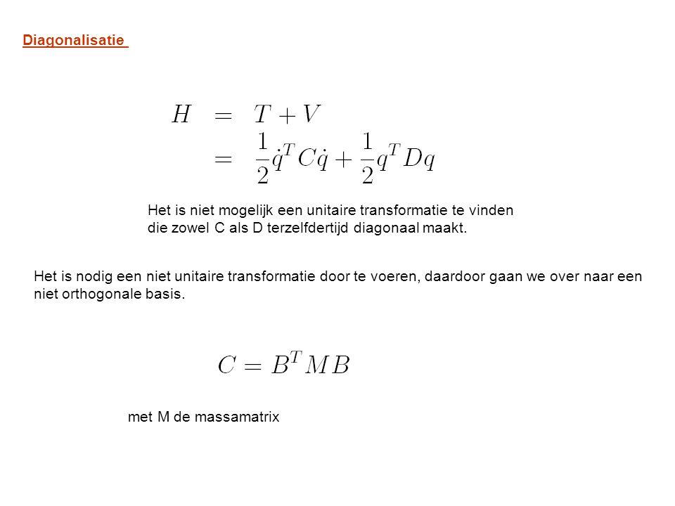 Diagonalisatie Het is niet mogelijk een unitaire transformatie te vinden die zowel C als D terzelfdertijd diagonaal maakt.