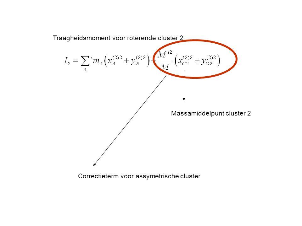 Traagheidsmoment voor roterende cluster 2 Massamiddelpunt cluster 2 Correctieterm voor assymetrische cluster