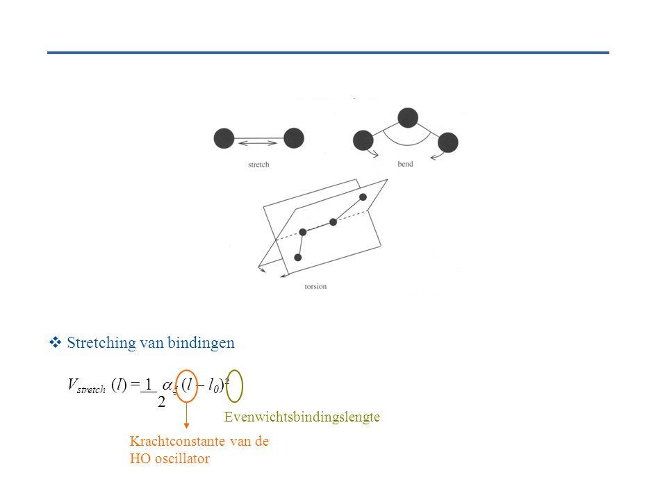  Stretching van bindingen V stretch (l) = 1   (l – l 0 )² Krachtconstante van de HO oscillator Evenwichtsbindingslengte 2