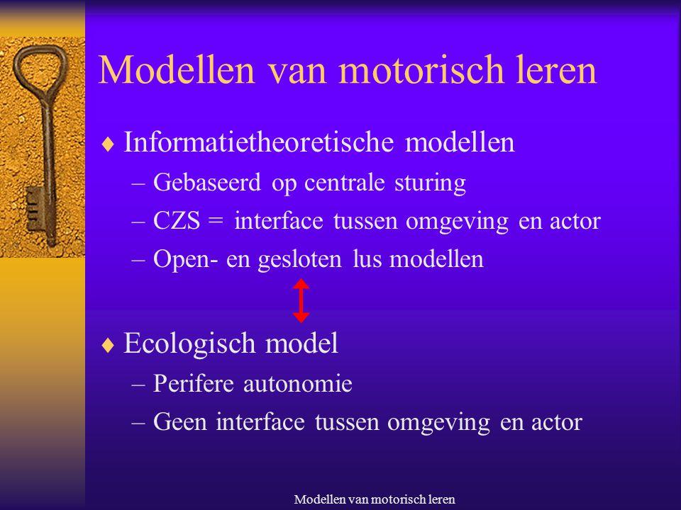Modellen Van c Modellen Van Motorisch Leren