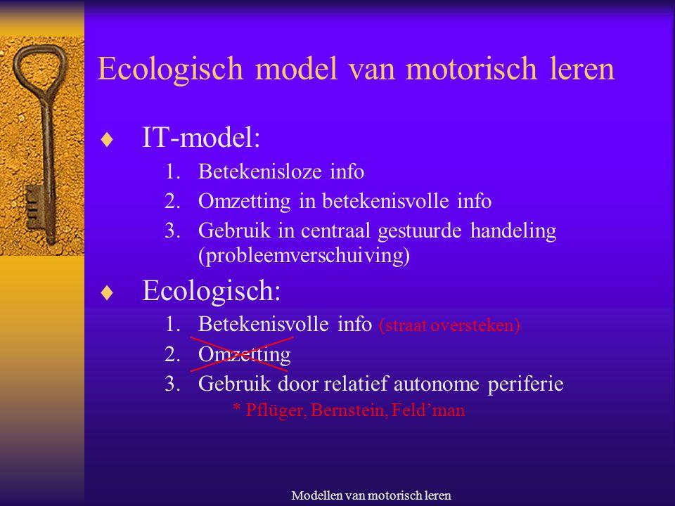 Modellen van motorisch leren Ecologisch model van motorisch leren  IT-model: 1.Betekenisloze info 2.Omzetting in betekenisvolle info 3.Gebruik in cen