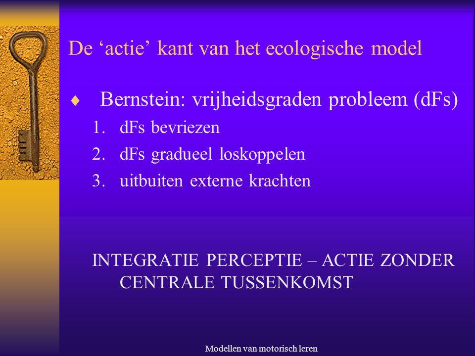 Modellen van motorisch leren De 'actie' kant van het ecologische model  Bernstein: vrijheidsgraden probleem (dFs) 1.dFs bevriezen 2.dFs gradueel losk