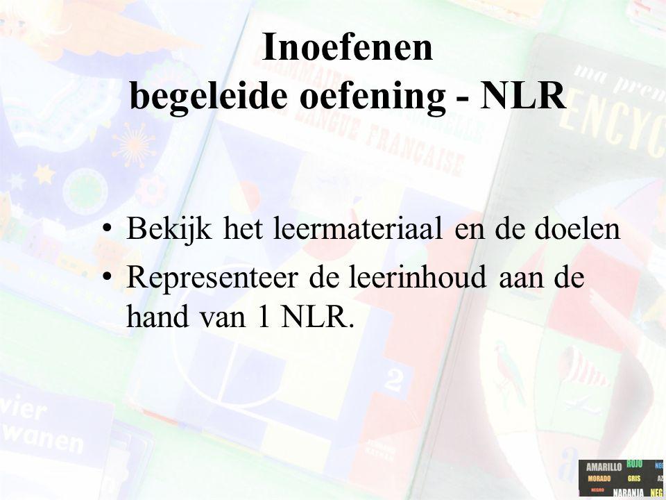 Inoefenen begeleide oefening - NLR Bekijk het leermateriaal en de doelen Representeer de leerinhoud aan de hand van 1 NLR.