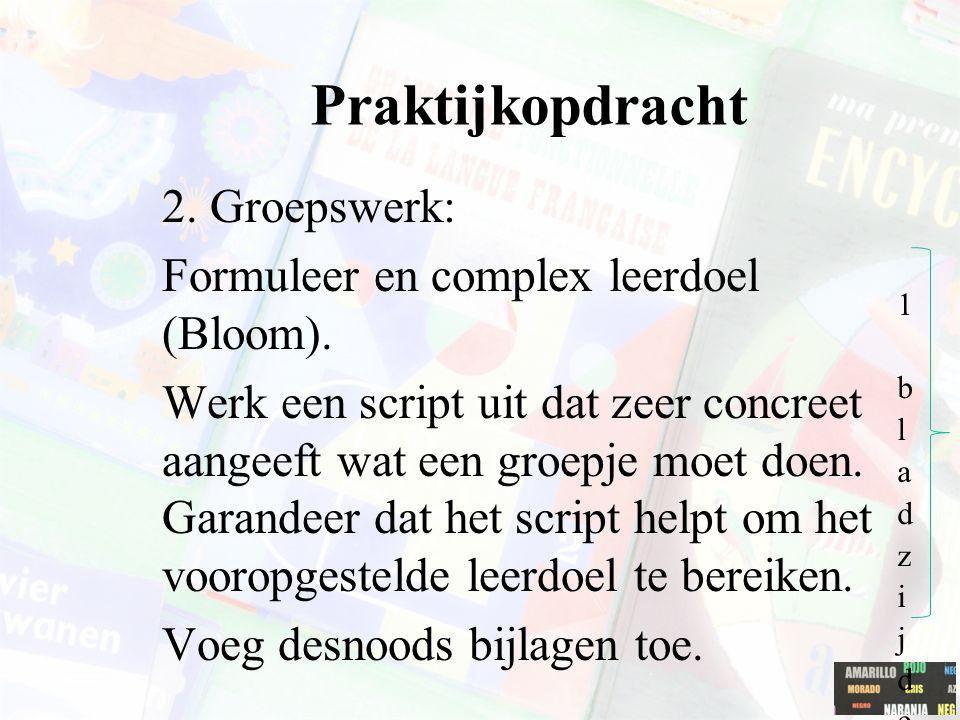 Praktijkopdracht 2. Groepswerk: Formuleer en complex leerdoel (Bloom). Werk een script uit dat zeer concreet aangeeft wat een groepje moet doen. Garan