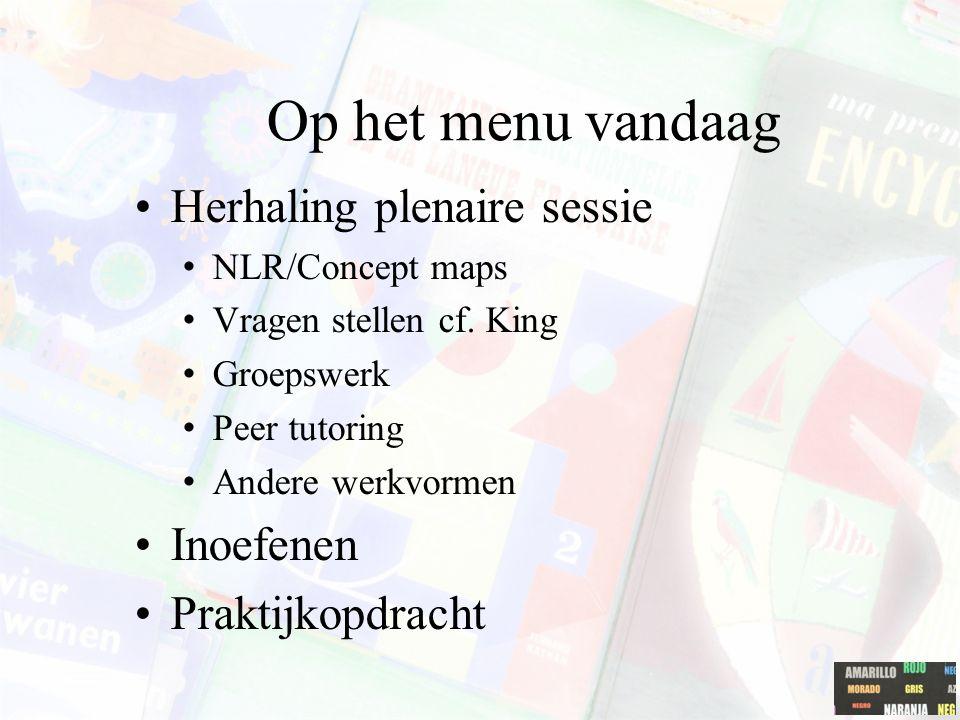 Op het menu vandaag Herhaling plenaire sessie NLR/Concept maps Vragen stellen cf. King Groepswerk Peer tutoring Andere werkvormen Inoefenen Praktijkop