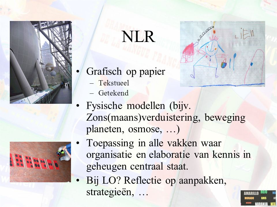 NLR Grafisch op papier –Tekstueel –Getekend Fysische modellen (bijv. Zons(maans)verduistering, beweging planeten, osmose, …) Toepassing in alle vakken