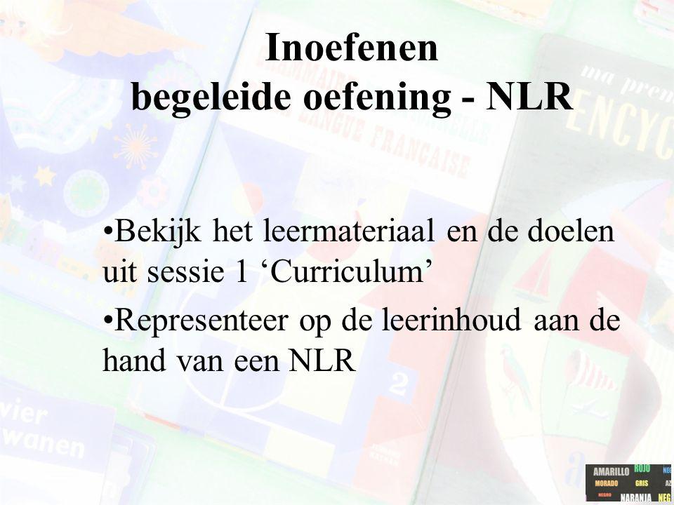 Inoefenen begeleide oefening - NLR Bekijk het leermateriaal en de doelen uit sessie 1 'Curriculum' Representeer op de leerinhoud aan de hand van een NLR