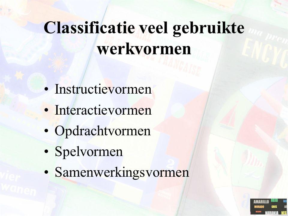 Classificatie veel gebruikte werkvormen Instructievormen Interactievormen Opdrachtvormen Spelvormen Samenwerkingsvormen