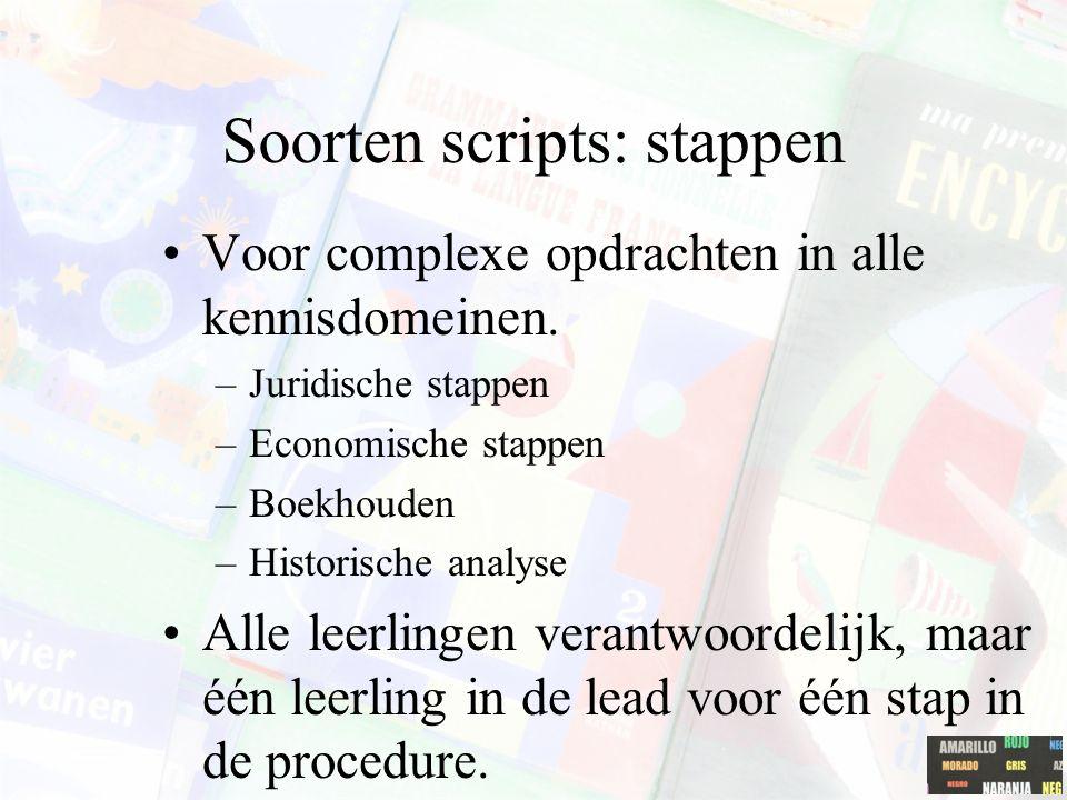 Soorten scripts: stappen Voor complexe opdrachten in alle kennisdomeinen. –Juridische stappen –Economische stappen –Boekhouden –Historische analyse Al