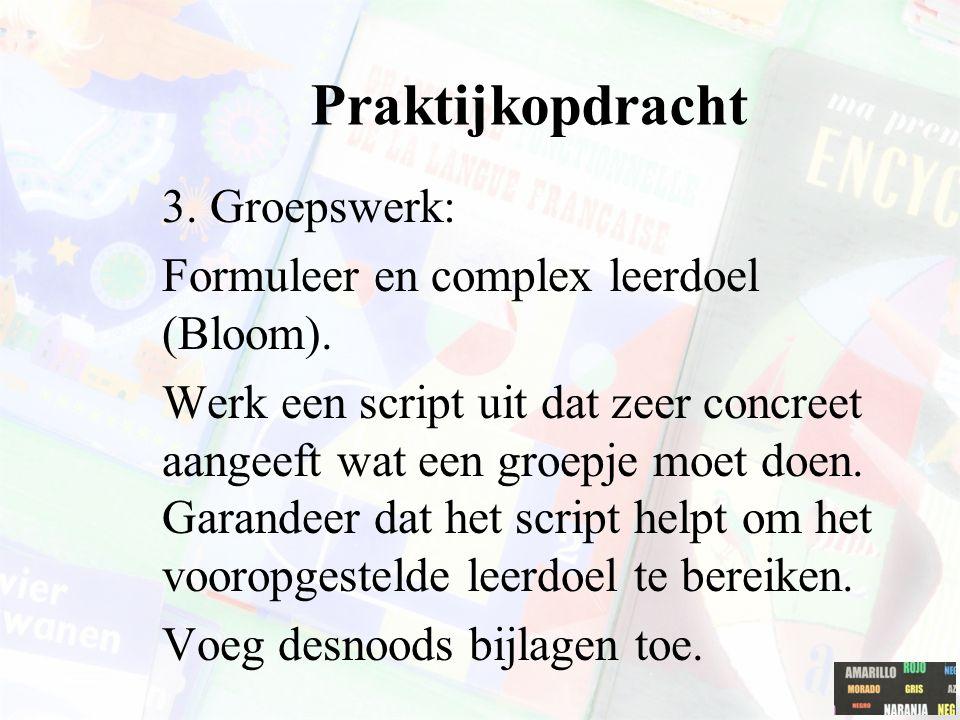 Praktijkopdracht 3. Groepswerk: Formuleer en complex leerdoel (Bloom). Werk een script uit dat zeer concreet aangeeft wat een groepje moet doen. Garan