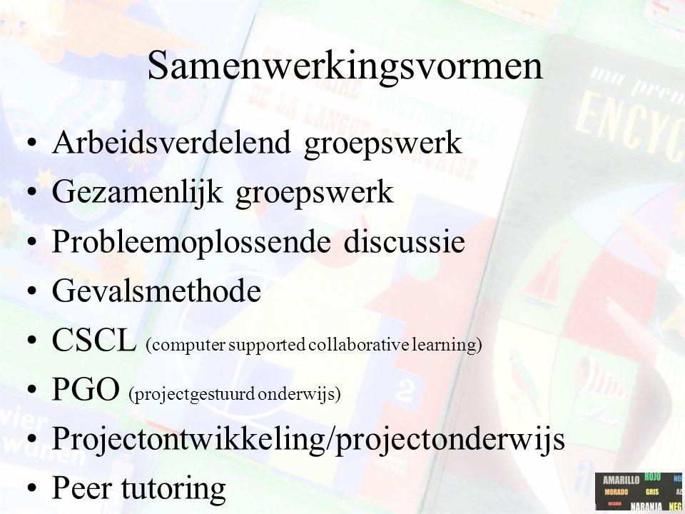 Samenwerkingsvormen Arbeidsverdelend groepswerk Gezamenlijk groepswerk Probleemoplossende discussie Gevalsmethode CSCL (computer supported collaborati