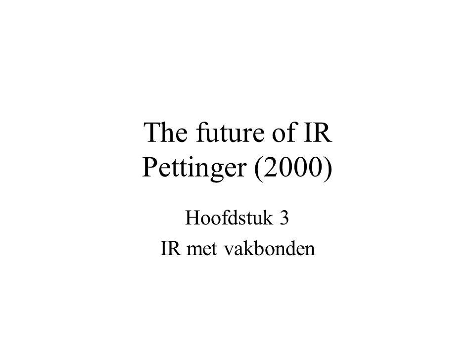 The future of IR Pettinger (2000) Hoofdstuk 3 IR met vakbonden