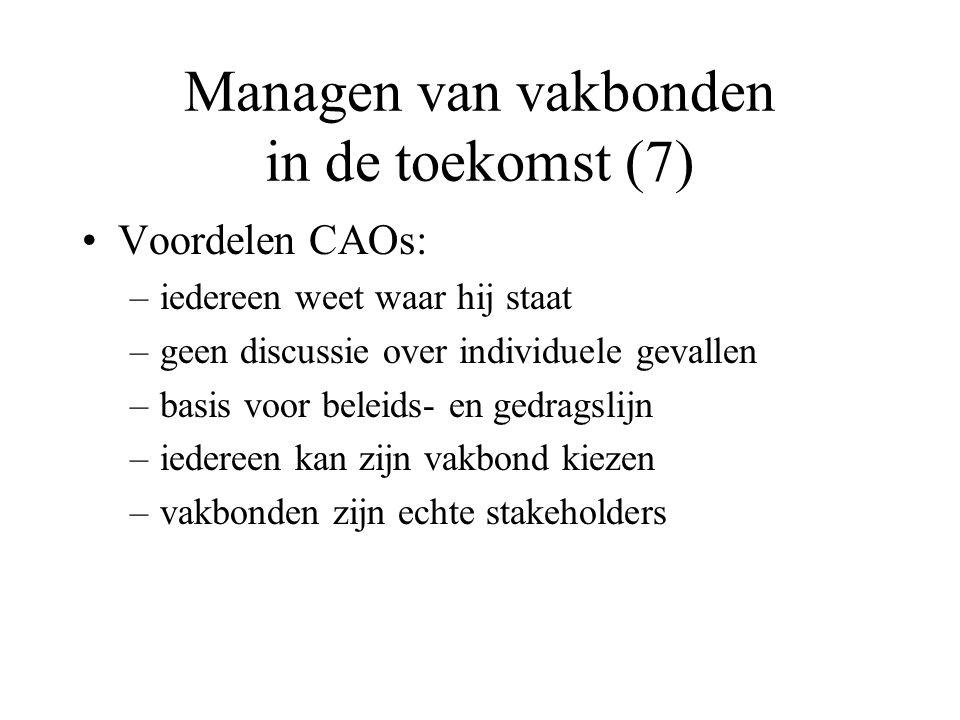Managen van vakbonden in de toekomst (7) Voordelen CAOs: –iedereen weet waar hij staat –geen discussie over individuele gevallen –basis voor beleids- en gedragslijn –iedereen kan zijn vakbond kiezen –vakbonden zijn echte stakeholders