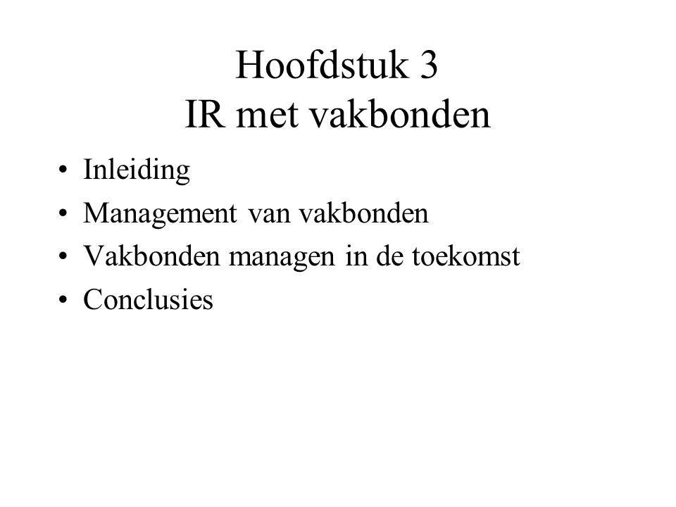 Hoofdstuk 3 IR met vakbonden Inleiding Management van vakbonden Vakbonden managen in de toekomst Conclusies