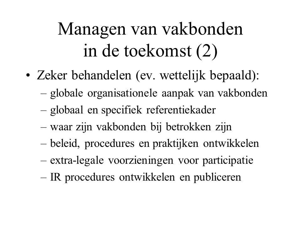 Managen van vakbonden in de toekomst (2) Zeker behandelen (ev.