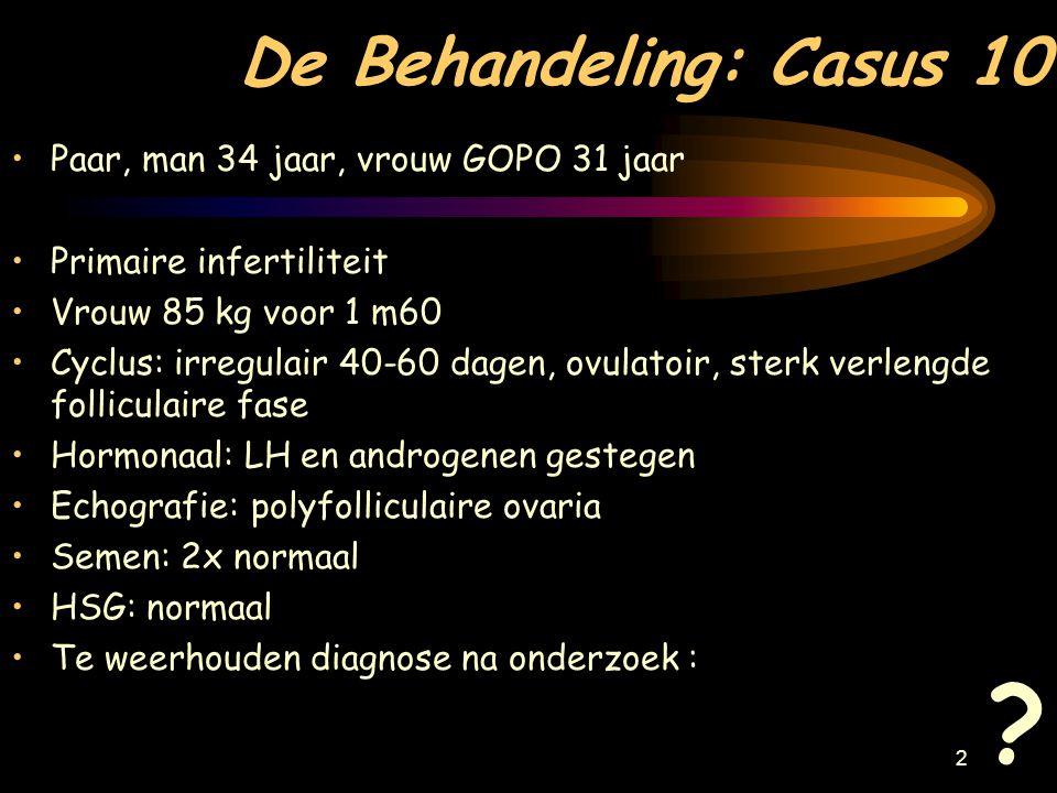 22 Casus 13 Paar, man 26 jaar, vrouw GOPO 22 jaar, primaire infertiliteit sedert 6 maanden.