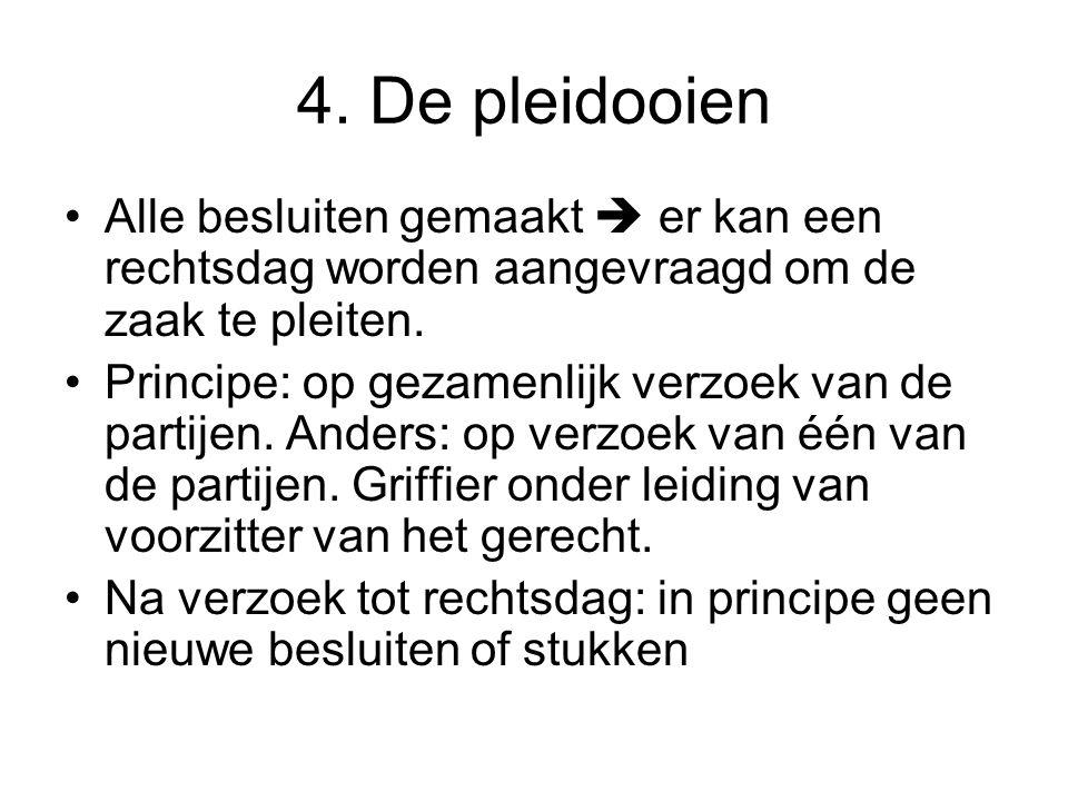 4.De pleidooien Belang debatten groot.
