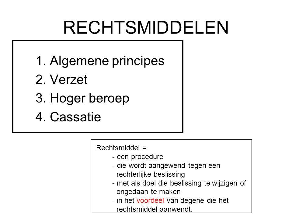 RECHTSMIDDELEN 1.Algemene principes 2. Verzet 3. Hoger beroep 4.