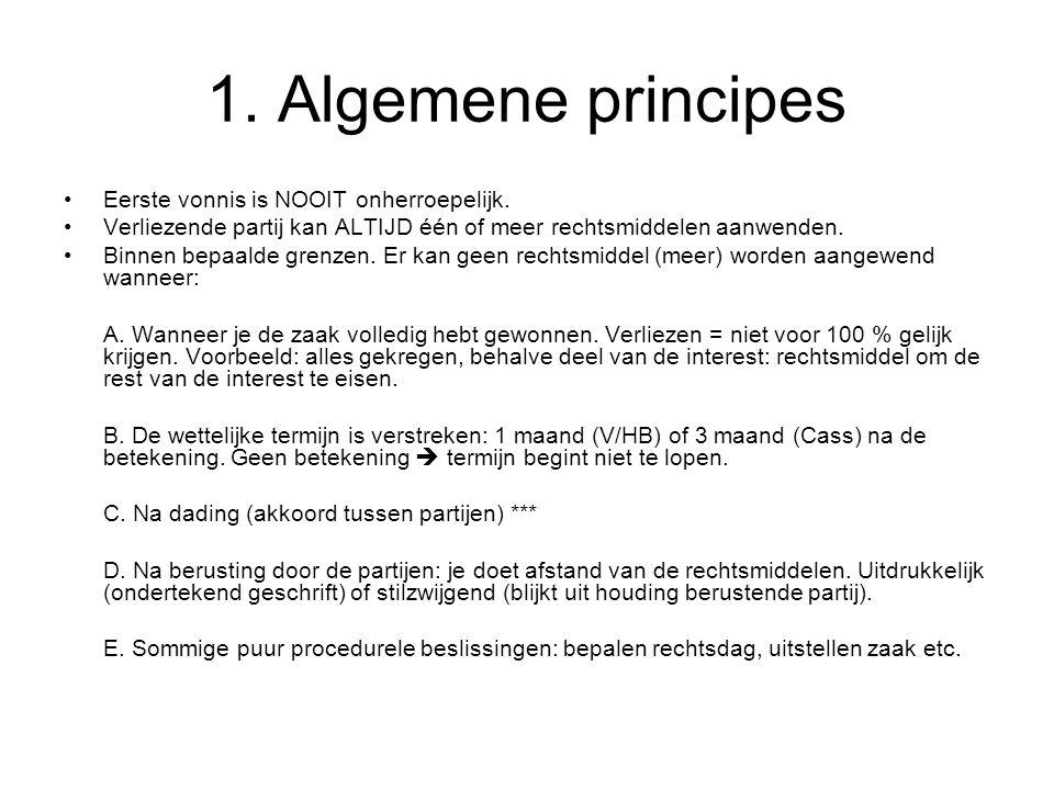 1.Algemene principes Eerste vonnis is NOOIT onherroepelijk.